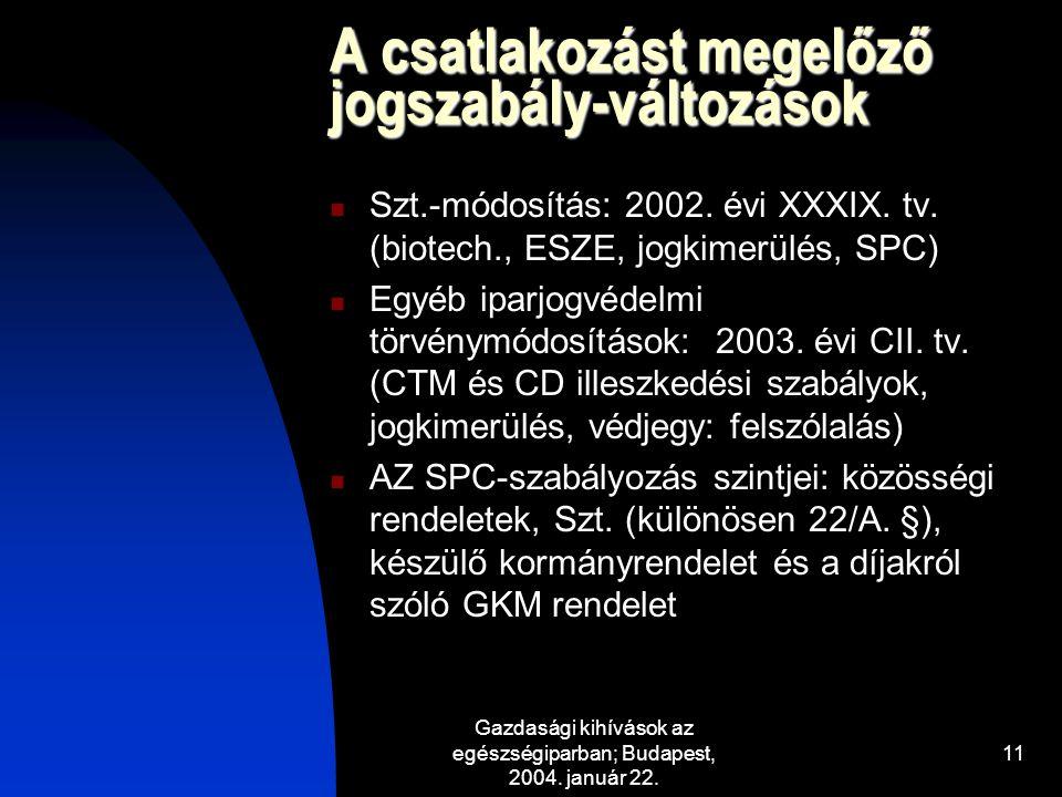 Gazdasági kihívások az egészségiparban; Budapest, 2004. január 22. 11 A csatlakozást megelőző jogszabály-változások Szt.-módosítás: 2002. évi XXXIX. t