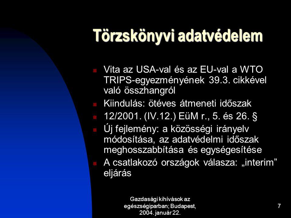 Gazdasági kihívások az egészségiparban; Budapest, 2004. január 22. 7 Törzskönyvi adatvédelem Vita az USA-val és az EU-val a WTO TRIPS-egyezményének 39