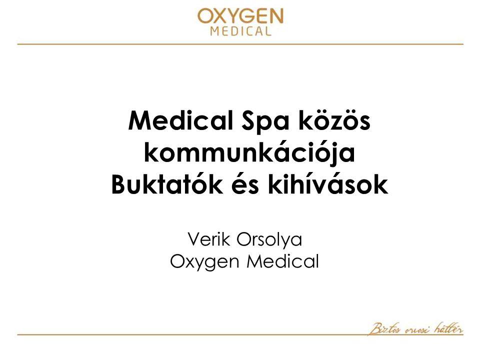 Medical Spa közös kommunkációja Buktatók és kihívások Verik Orsolya Oxygen Medical