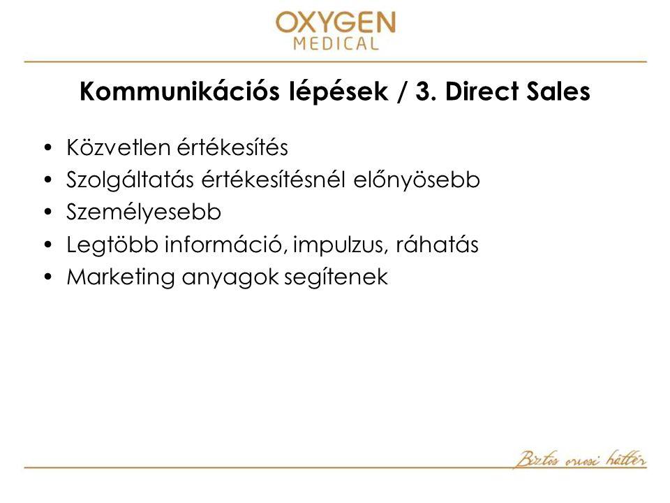 Közvetlen értékesítés Szolgáltatás értékesítésnél előnyösebb Személyesebb Legtöbb információ, impulzus, ráhatás Marketing anyagok segítenek Kommunikációs lépések / 3.