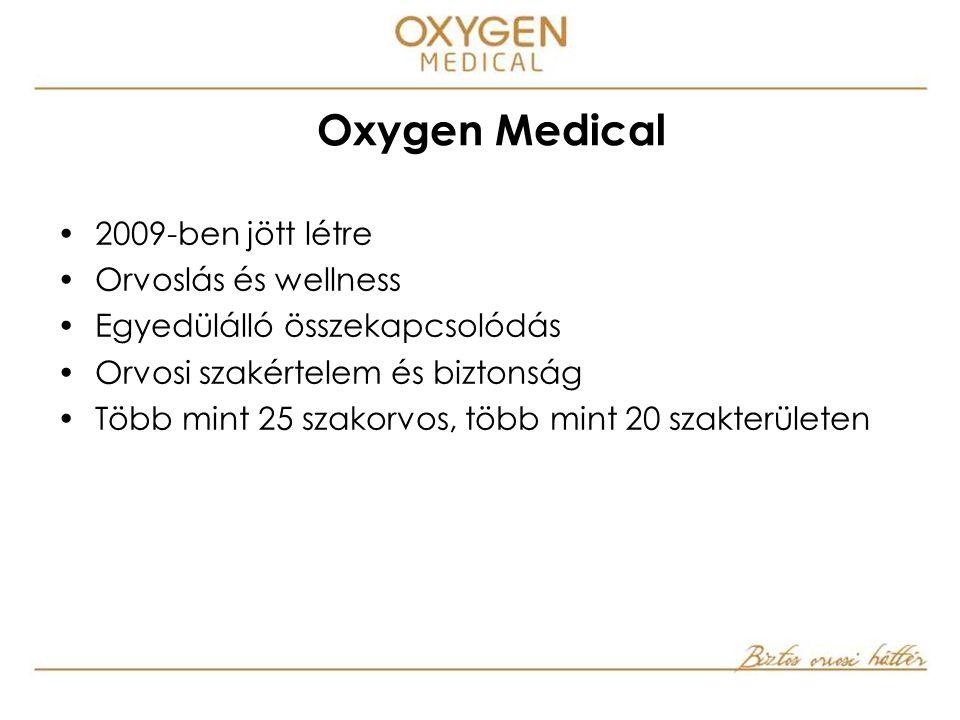  2009-ben jött létre  Orvoslás és wellness  Egyedülálló összekapcsolódás  Orvosi szakértelem és biztonság  Több mint 25 szakorvos, több mint 20 szakterületen Oxygen Medical