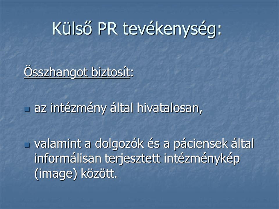 Külső PR tevékenység: Összhangot biztosít: az intézmény által hivatalosan, az intézmény által hivatalosan, valamint a dolgozók és a páciensek által in