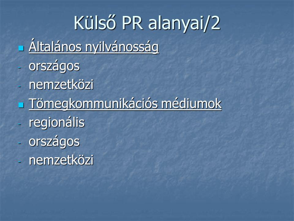 Külső PR alanyai/2 Általános nyilvánosság Általános nyilvánosság - országos - nemzetközi Tömegkommunikációs médiumok Tömegkommunikációs médiumok - reg