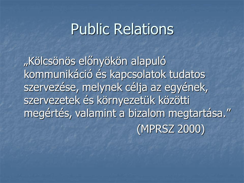 """Public Relations """"Kölcsönös előnyökön alapuló kommunikáció és kapcsolatok tudatos szervezése, melynek célja az egyének, szervezetek és környezetük köz"""