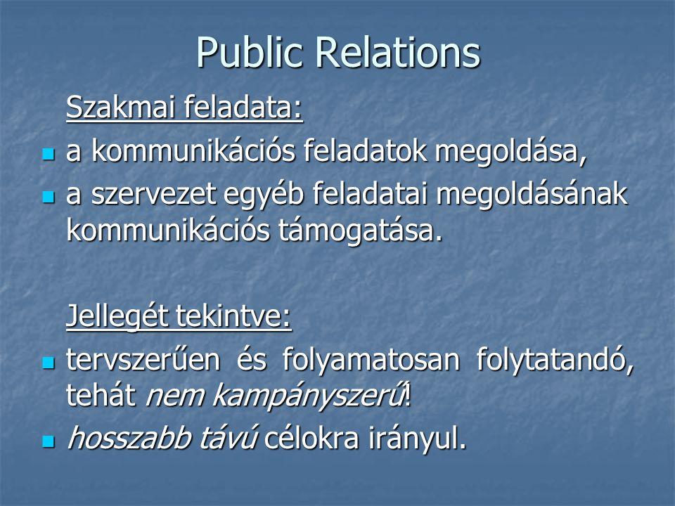 Public Relations A Public Relations feladatok megoldását szervezetileg háromféleképpen lehet támogatni: belső szervezeti egységgel, belső szervezeti egységgel, külső szakember, ill.
