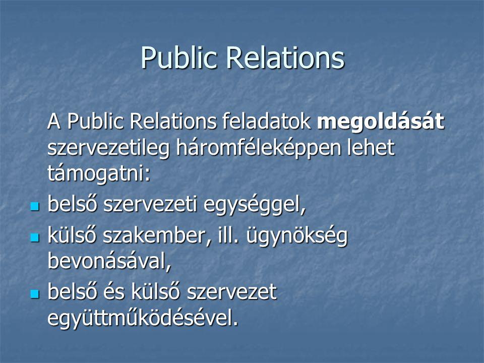 Public Relations A Public Relations feladatok megoldását szervezetileg háromféleképpen lehet támogatni: belső szervezeti egységgel, belső szervezeti e