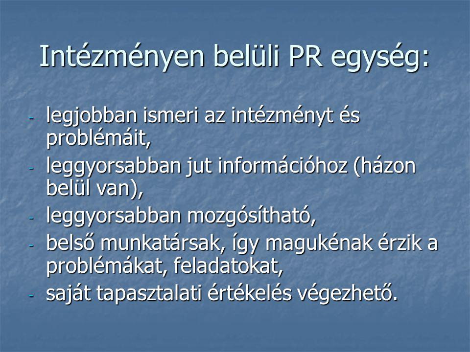 Intézményen belüli PR egység: - legjobban ismeri az intézményt és problémáit, - leggyorsabban jut információhoz (házon belül van), - leggyorsabban moz