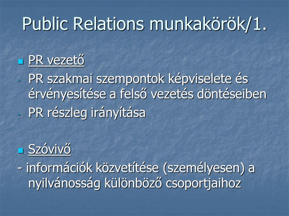 Public Relations munkakörök/1. PR vezető PR vezető - PR szakmai szempontok képviselete és érvényesítése a felső vezetés döntéseiben - PR részleg irány