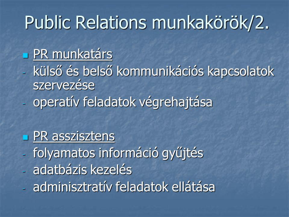 Public Relations munkakörök/2. PR munkatárs PR munkatárs - külső és belső kommunikációs kapcsolatok szervezése - operatív feladatok végrehajtása PR as