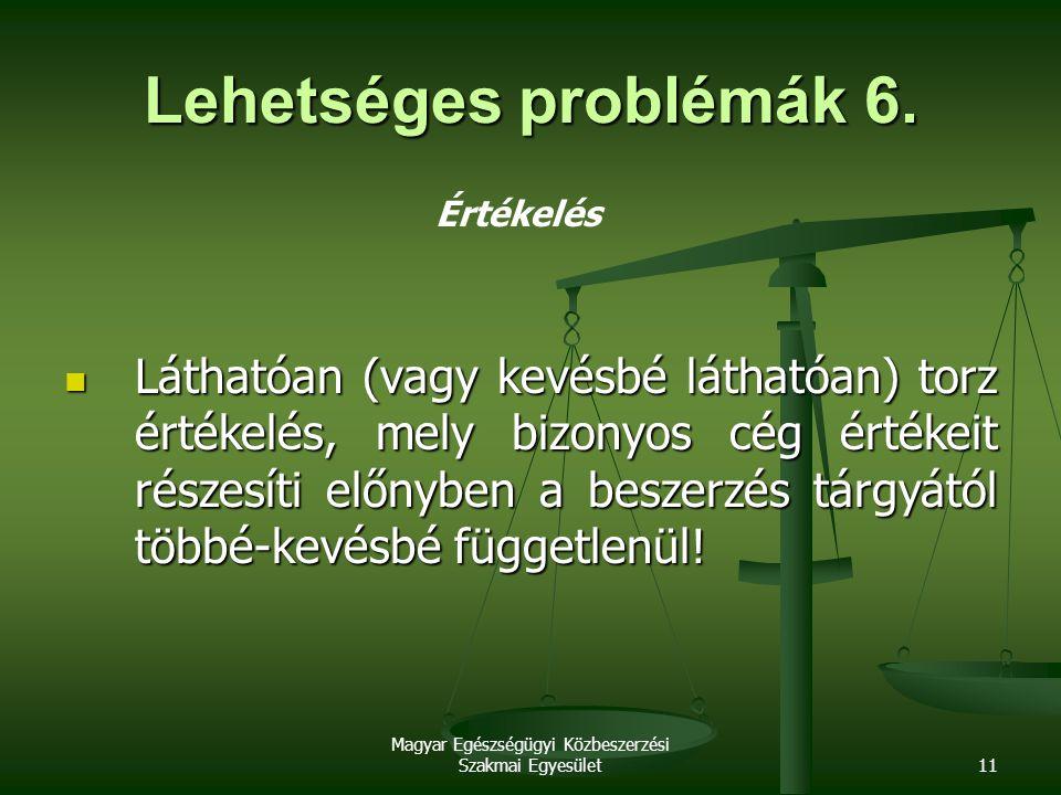 Magyar Egészségügyi Közbeszerzési Szakmai Egyesület11 Lehetséges problémák 6. Értékelés Láthatóan (vagy kevésbé láthatóan) torz értékelés, mely bizony
