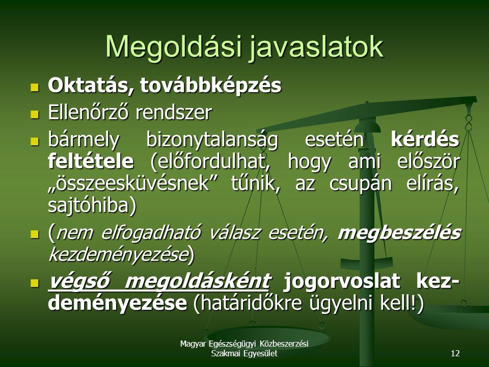 Magyar Egészségügyi Közbeszerzési Szakmai Egyesület12 Megoldási javaslatok Oktatás, továbbképzés Oktatás, továbbképzés Ellenőrző rendszer Ellenőrző re