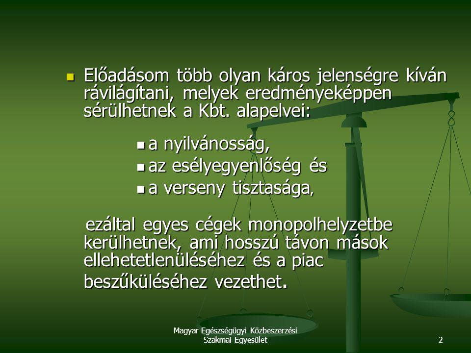 Magyar Egészségügyi Közbeszerzési Szakmai Egyesület2 Előadásom több olyan káros jelenségre kíván rávilágítani, melyek eredményeképpen sérülhetnek a Kb