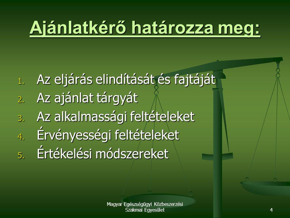 Magyar Egészségügyi Közbeszerzési Szakmai Egyesület4 Ajánlatkérő határozza meg: 1. Az eljárás elindítását és fajtáját 2. Az ajánlat tárgyát 3. Az alka