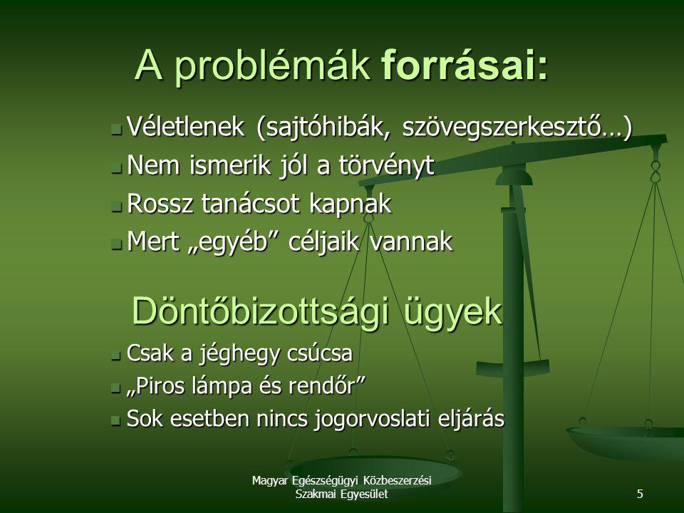 Magyar Egészségügyi Közbeszerzési Szakmai Egyesület6 Lehetséges problémák 1.