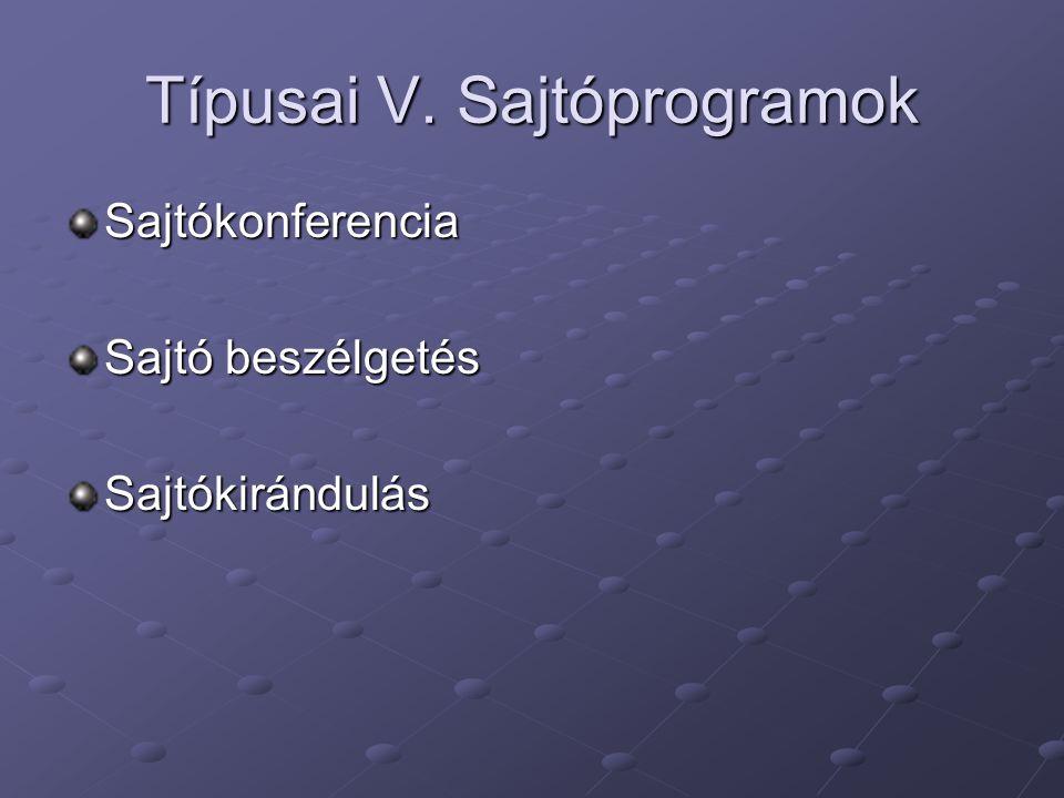 Típusai V. Sajtóprogramok Sajtókonferencia Sajtó beszélgetés Sajtókirándulás