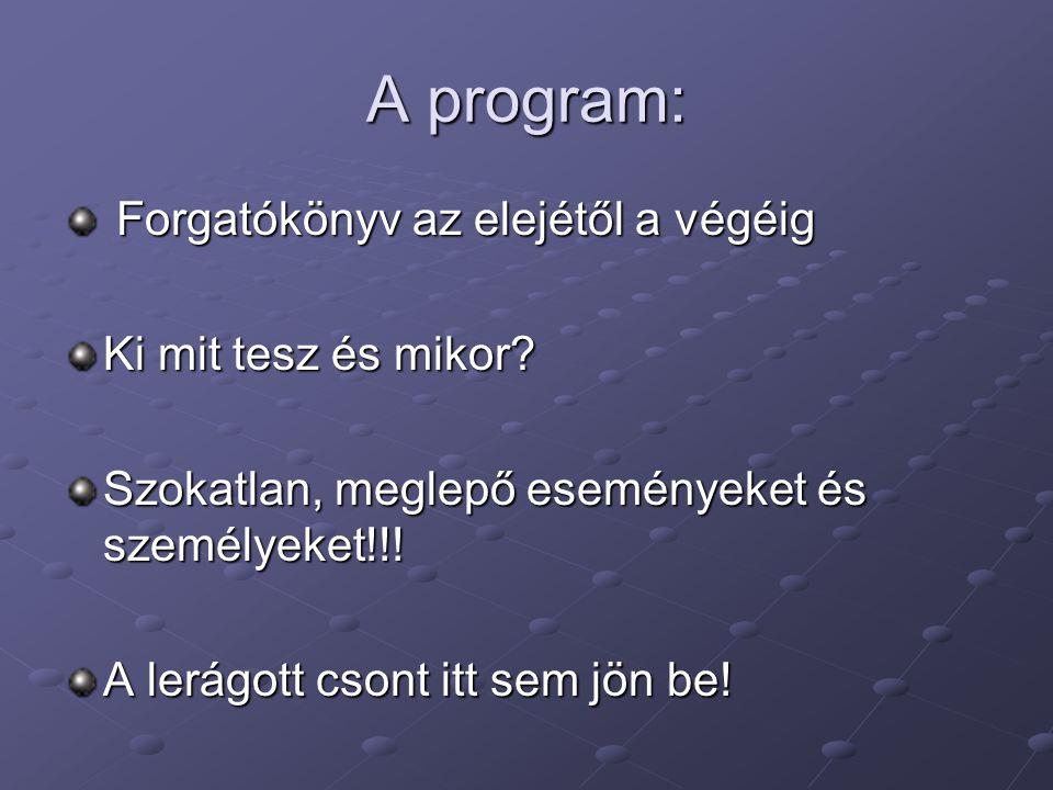 A program: Forgatókönyv az elejétől a végéig Forgatókönyv az elejétől a végéig Ki mit tesz és mikor.