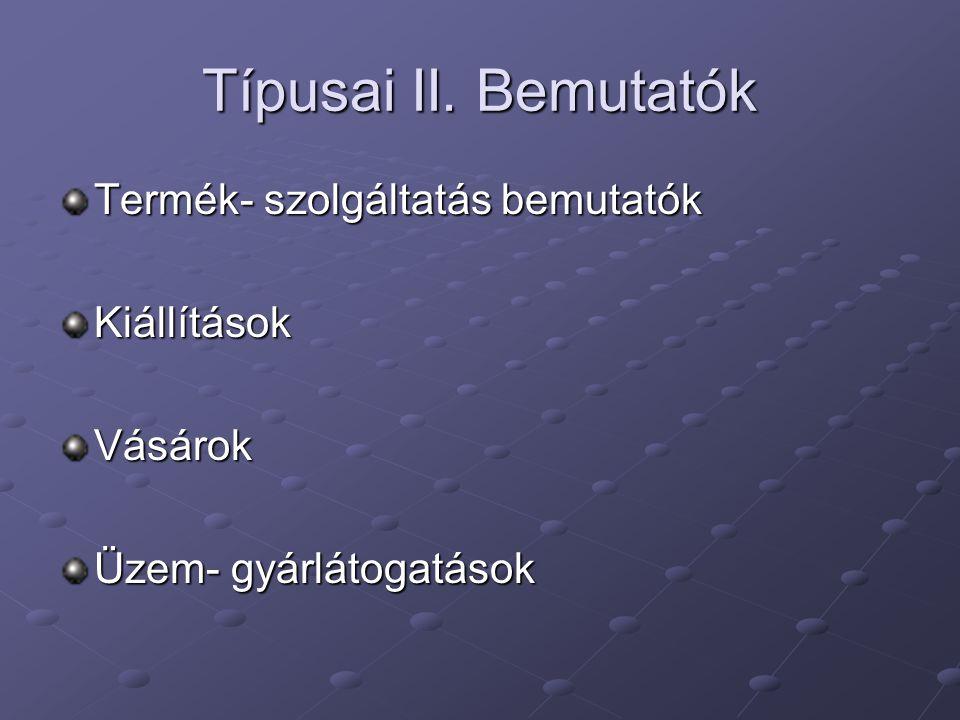 Típusai III. Konferenciák Üzleti konferenciák SzimpóziumokTájékoztatókKépzések