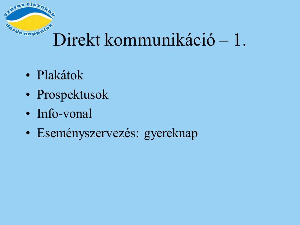 Direkt kommunikáció – 1. Plakátok Prospektusok Info-vonal Eseményszervezés: gyereknap