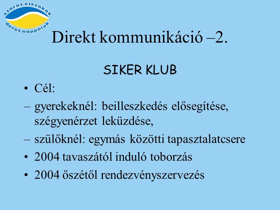 Direkt kommunikáció –2. SIKER KLUB Cél: –gyerekeknél: beilleszkedés elősegítése, szégyenérzet leküzdése, –szülőknél: egymás közötti tapasztalatcsere 2
