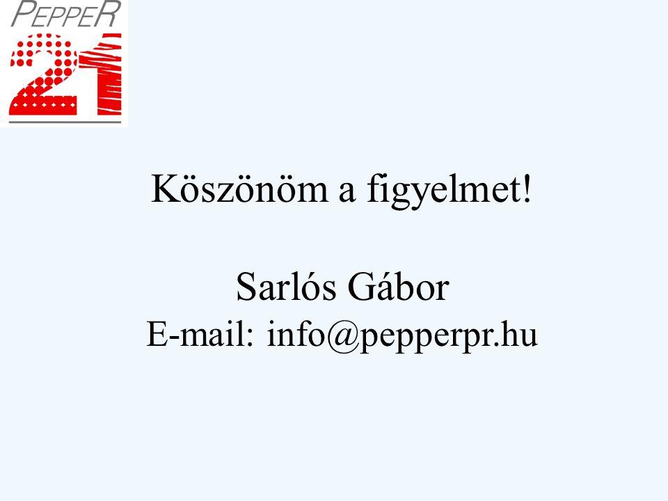 Köszönöm a figyelmet! Sarlós Gábor E-mail: info@pepperpr.hu