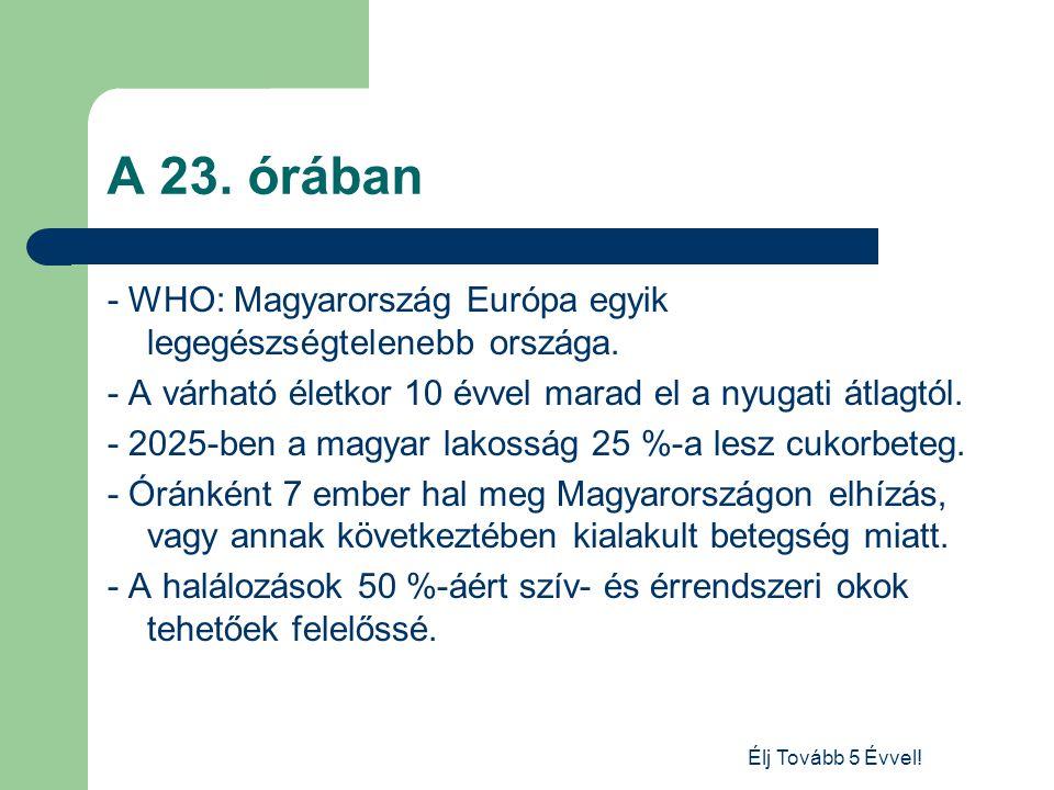Élj Tovább 5 Évvel! A 23. órában - WHO: Magyarország Európa egyik legegészségtelenebb országa. - A várható életkor 10 évvel marad el a nyugati átlagtó
