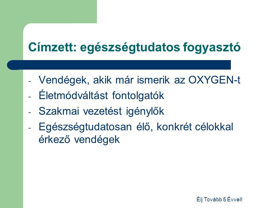 Élj Tovább 5 Évvel! Címzett: egészségtudatos fogyasztó - Vendégek, akik már ismerik az OXYGEN-t - Életmódváltást fontolgatók - Szakmai vezetést igényl