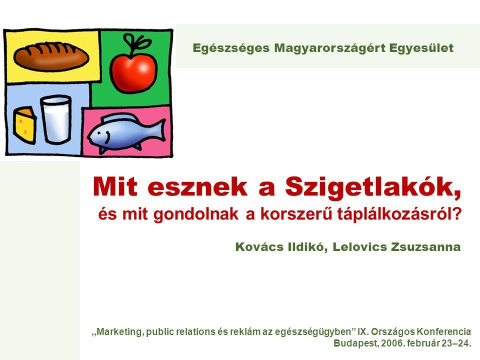 """,,Marketing, public relations és reklám az egészségügyben"""" IX. Országos Konferencia Budapest, 2006. február 23–24. Mit esznek a Szigetlakók, és mit go"""