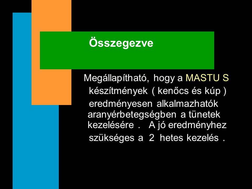 Összegezve Megállapítható, hogy a MASTU S készítmények ( kenőcs és kúp ) eredményesen alkalmazhatók aranyérbetegségben a tünetek kezelésére. A jó ered