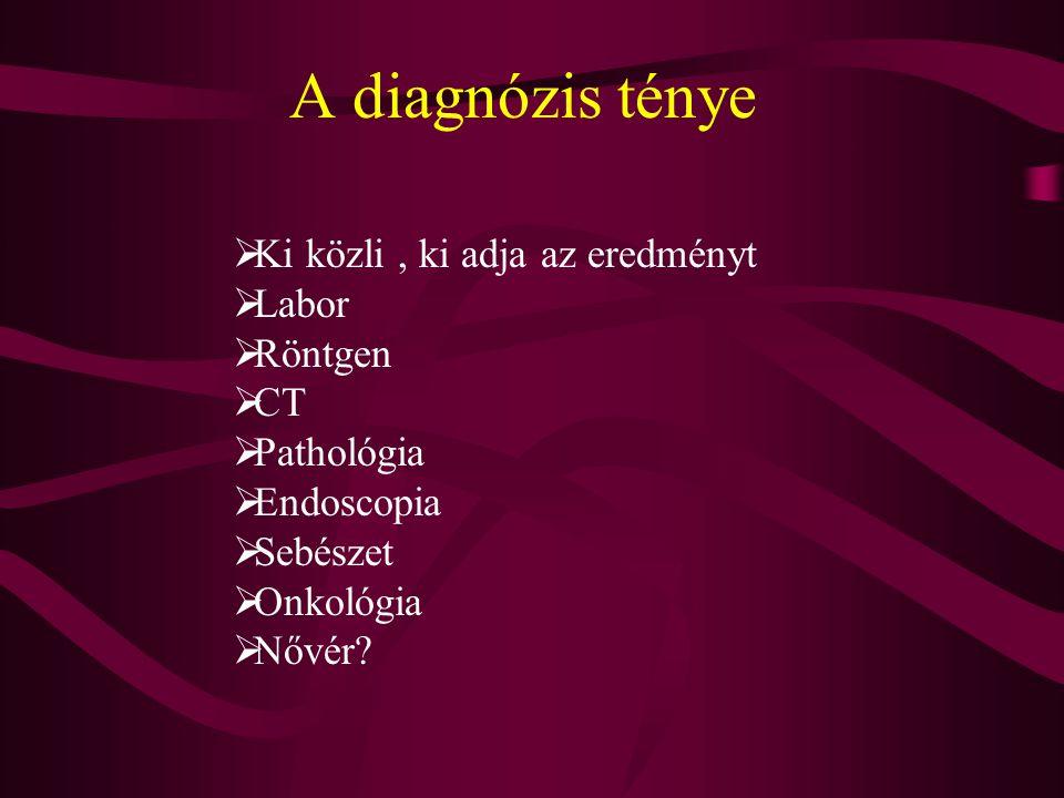 Kommunikáció Újra és újra elismétli a kezdeti panaszait :  Vérzés  Fogyás  Hasmenés Orvosi diagnózis Más orvossal konzilium Bizalom kialakulása Elfogadás, akkor hát gyógyuljunk….