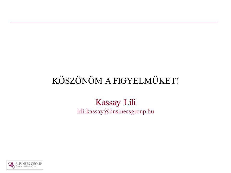 KÖSZÖNÖM A FIGYELMÜKET! Kassay Lili lili.kassay@businessgroup.hu