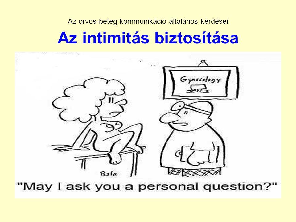 Az orvos-beteg kommunikáció általános kérdései Az intimitás biztosítása