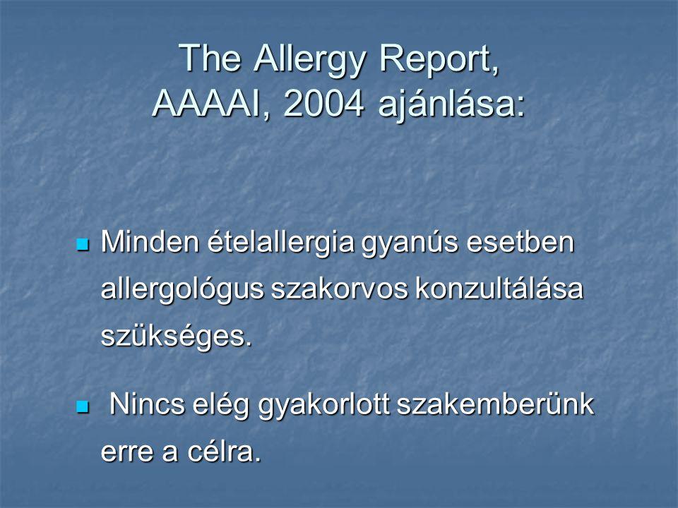 The Allergy Report, AAAAI, 2004 ajánlása: Minden ételallergia gyanús esetben allergológus szakorvos konzultálása szükséges.
