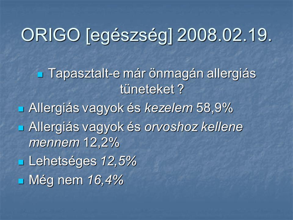 ORIGO [egészség] 2008.02.19. Tapasztalt-e már önmagán allergiás tüneteket .
