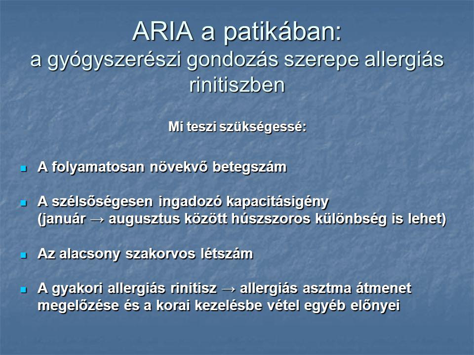 ARIA a patikában: a gyógyszerészi gondozás szerepe allergiás rinitiszben A folyamatosan növekvő betegszám A folyamatosan növekvő betegszám A szélsőségesen ingadozó kapacitásigény (január → augusztus között húszszoros különbség is lehet) A szélsőségesen ingadozó kapacitásigény (január → augusztus között húszszoros különbség is lehet) Az alacsony szakorvos létszám Az alacsony szakorvos létszám A gyakori allergiás rinitisz → allergiás asztma átmenet megelőzése és a korai kezelésbe vétel egyéb előnyei A gyakori allergiás rinitisz → allergiás asztma átmenet megelőzése és a korai kezelésbe vétel egyéb előnyei Mi teszi szükségessé: