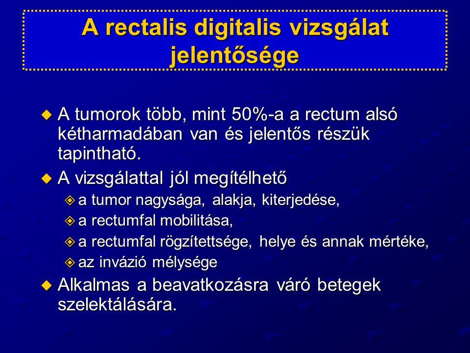 MRI által lokálisan előrehaladott folyamatot jelez  Extranodalis depozitum  Vénás invázió  Infiltrált mesorectal fascia  Az infiltrált mesorectal fascian kívül nyirokcsomók.