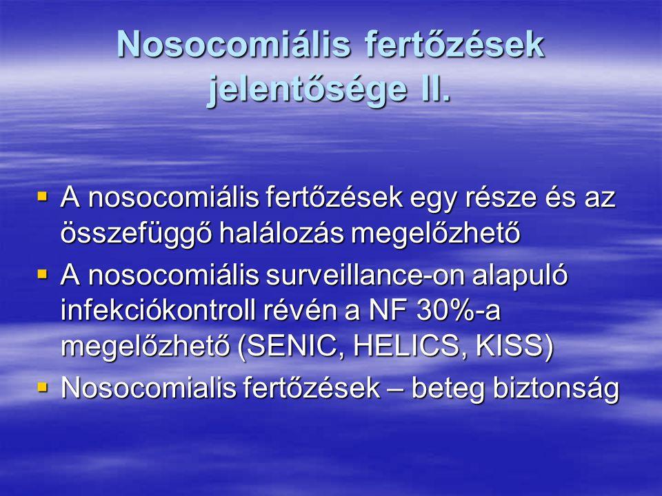 Nosocomiális fertőzések jelentősége II.  A nosocomiális fertőzések egy része és az összefüggő halálozás megelőzhető  A nosocomiális surveillance-on