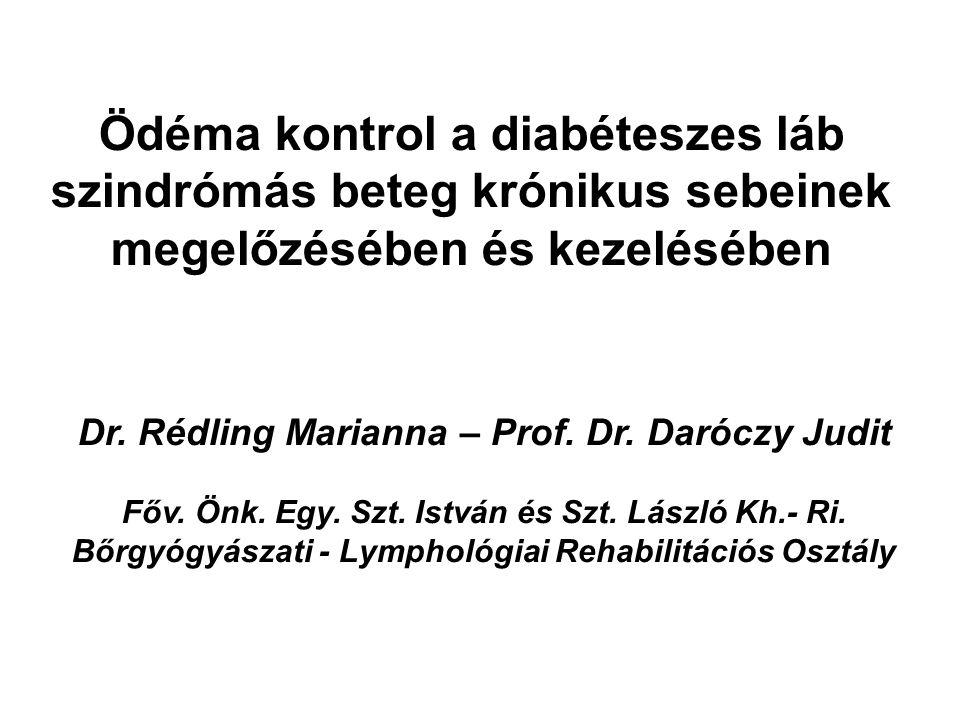 Ödéma kontrol a diabéteszes láb szindrómás beteg krónikus sebeinek megelőzésében és kezelésében Dr. Rédling Marianna – Prof. Dr. Daróczy Judit Főv. Ön