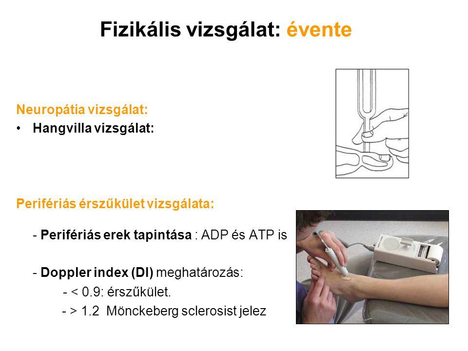 Fizikális vizsgálat: évente Neuropátia vizsgálat: Hangvilla vizsgálat: Perifériás érszűkület vizsgálata: - Perifériás erek tapintása : ADP és ATP is -