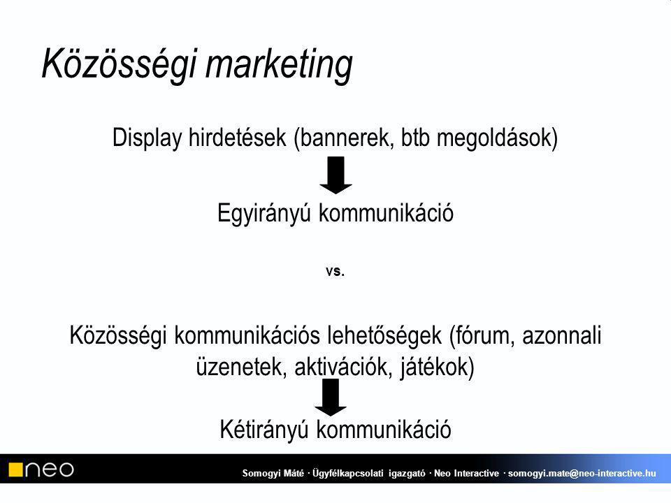Közösségi kommunikációs lehetőségek (fórum, azonnali üzenetek, aktivációk, játékok) Kétirányú kommunikáció Közösségi marketing Display hirdetések (bannerek, btb megoldások) Egyirányú kommunikáció vs.