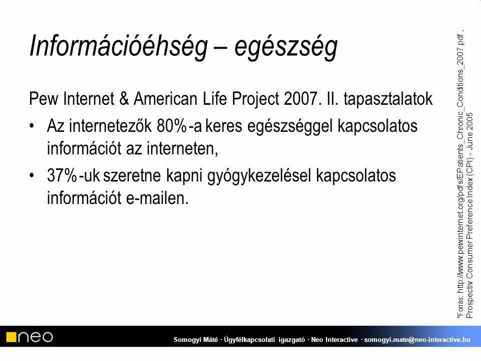 Információéhség – egészség Pew Internet & American Life Project 2007.