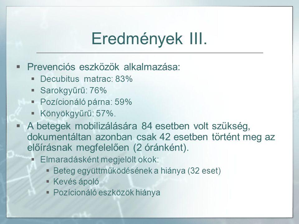 Eredmények III.  Prevenciós eszközök alkalmazása:  Decubitus matrac: 83%  Sarokgyűrű: 76%  Pozícionáló párna: 59%  Könyökgyűrű: 57%.  A betegek