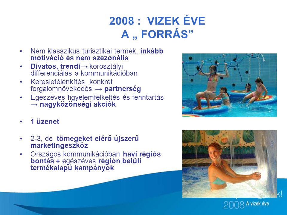 """2008 : VIZEK ÉVE A """" FORRÁS"""" Nem klasszikus turisztikai termék, inkább motiváció és nem szezonális Divatos, trendi→ korosztályi differenciálás a kommu"""
