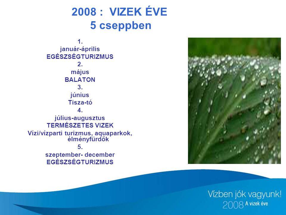 2008 : VIZEK ÉVE 5 cseppben 1. január-április EGÉSZSÉGTURIZMUS 2. május BALATON 3. június Tisza-tó 4. július-augusztus TERMÉSZETES VIZEK Vízi/vízparti