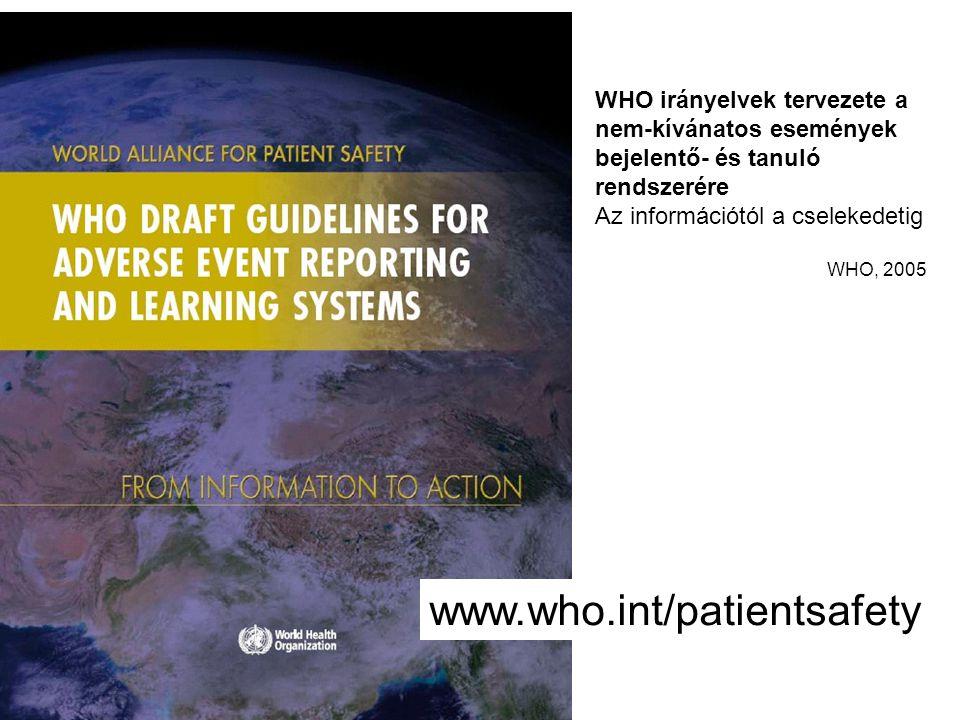 www.who.int/patientsafety WHO irányelvek tervezete a nem-kívánatos események bejelentő- és tanuló rendszerére Az információtól a cselekedetig WHO, 200