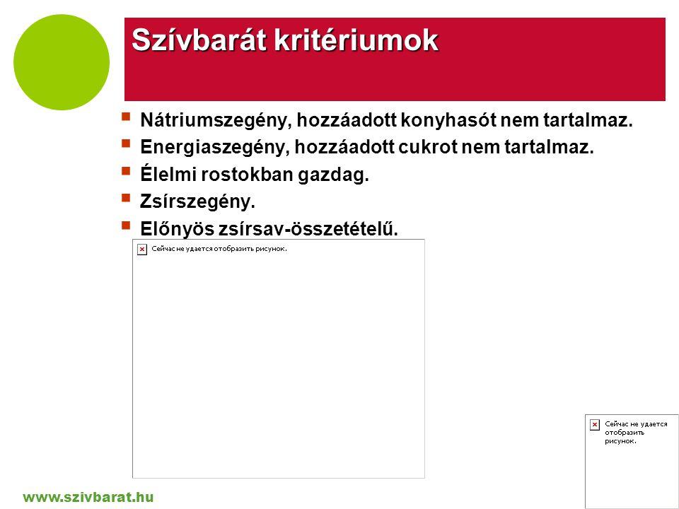 www.szivbarat.hu Company LOGO Szívbarát kritériumok  Nátriumszegény, hozzáadott konyhasót nem tartalmaz.  Energiaszegény, hozzáadott cukrot nem tart