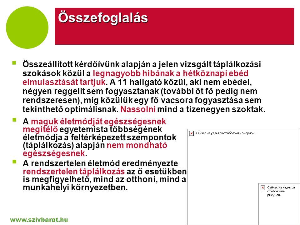 www.szivbarat.hu Company LOGO Összefoglalás  Összeállított kérdőívünk alapján a jelen vizsgált táplálkozási szokások közül a legnagyobb hibának a hét