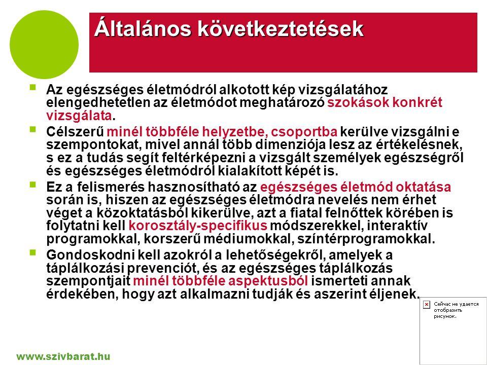 www.szivbarat.hu Company LOGO Általános következtetések  Az egészséges életmódról alkotott kép vizsgálatához elengedhetetlen az életmódot meghatározó