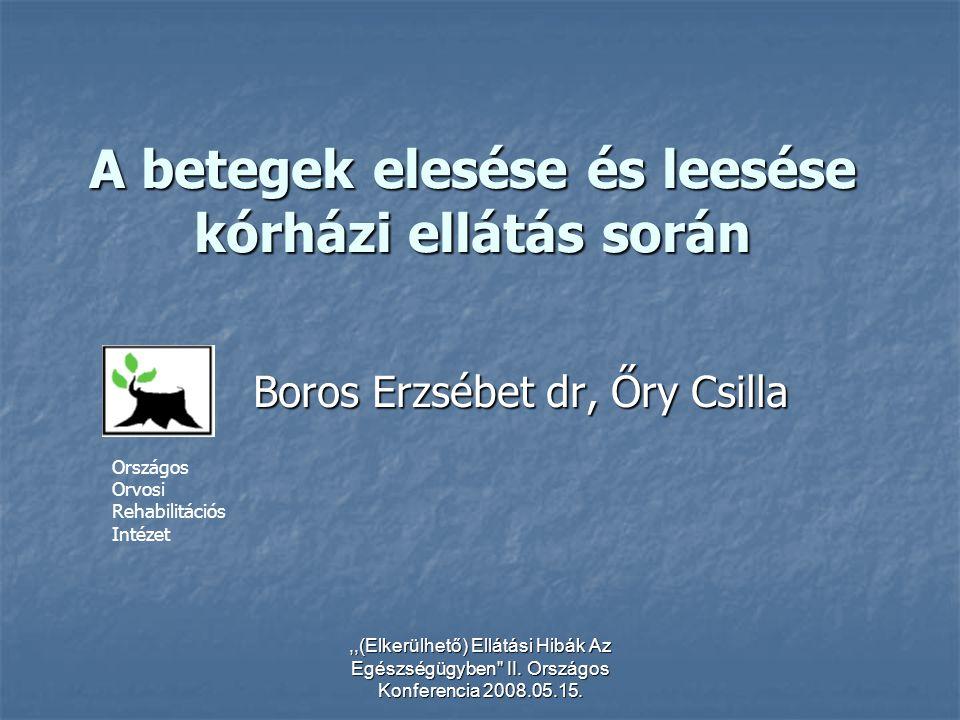 ,,(Elkerülhető) Ellátási Hibák Az Egészségügyben'' II. Országos Konferencia 2008.05.15. A betegek elesése és leesése kórházi ellátás során Boros Erzsé