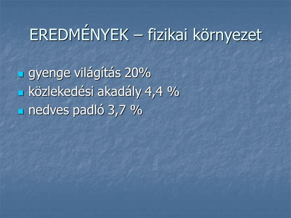 EREDMÉNYEK – fizikai környezet gyenge világítás 20% gyenge világítás 20% közlekedési akadály 4,4 % közlekedési akadály 4,4 % nedves padló 3,7 % nedves