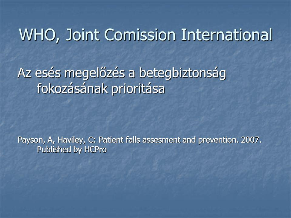 WHO, Joint Comission International Az esés megelőzés a betegbiztonság fokozásának prioritása Payson, A, Haviley, C: Patient falls assesment and preven